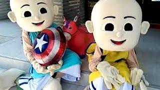 Unboxing Costume Badut Upin  Badut Ipin, Meniup Balon Karakter Captain Amerika Lagu Lebaran
