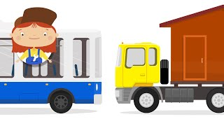 Kids Cartoon. Car doctor helps big truck