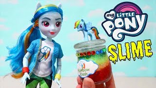 MLP Glitter Slime ! Toys and Dolls Fun for Kids with Equestria Girls and My Little Pony DIY Slimes