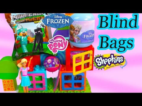 Squishy Pops Blind Bags : MLP Squishy POPS Shopkins Season 2 Disney Frozen Blind Bag Surprise My Little Pony Minecraft Video