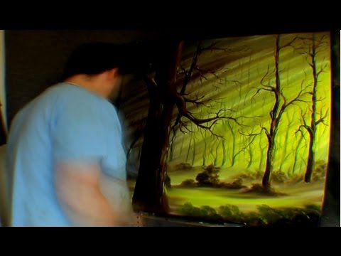 Tall and deep forest oil painting time lapse on huge for Painting on black canvas tips