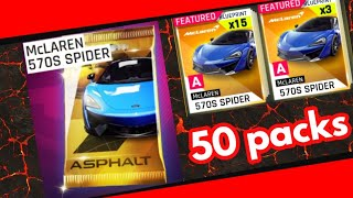 Opening 50 McLaren 570S Spider packs || Asphalt 9:Legends