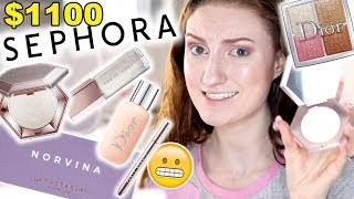 I SPENT $1100 AT SEPHORA!! FULL FACE OF NEW MAKEUP 2018! FENTY BEAUTY, ABH NORVINA, DIOR & MORE