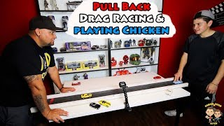 Playing Chicken with Pull Back Cars | Pull Back Drag Racing | Damian and Deion