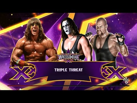 Sting vs Ultimate Warrior vs Undertaker Wrestlemania Triple Threat! - WWE 2K15