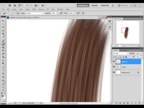 Видео как нарисовать волосы в Фотошопе