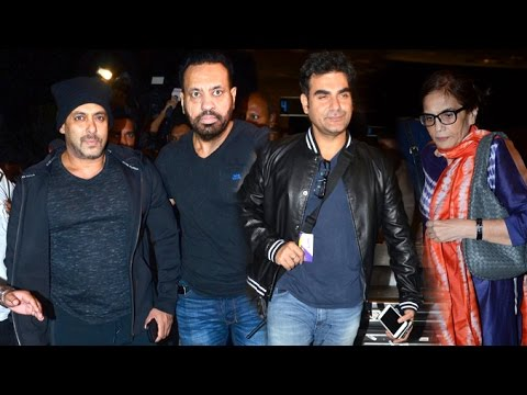Salman Khan With Family Spotted At Mumbai Airport - Arbaaz Khan,Salma Khan