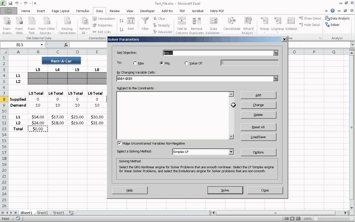 Ms Excel  Solver Add-in Demonstration