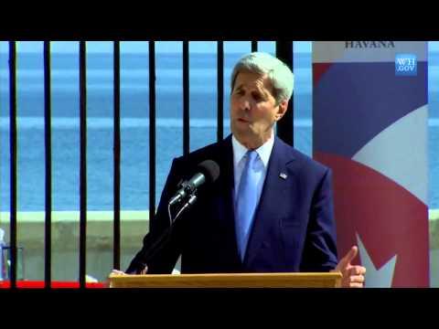 John Kerry - Flag Raised during Ceremony - Cuba Havana US Embassy