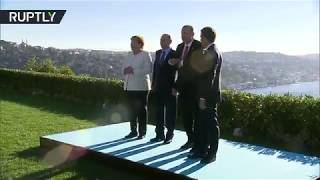 Putin, Erdogan, Macron & Merkel pose for group photo ahead of Syria summit in Istanbul