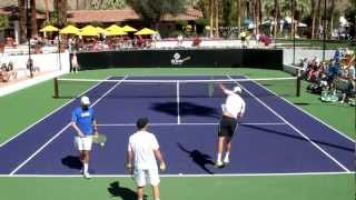The Bryan Brothers Practice Serves 2013 Indian Wells