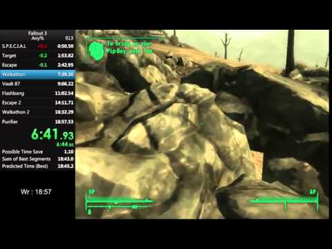 Fallout 3 Speedrun Any% RTA 18:53 [19:08] WR