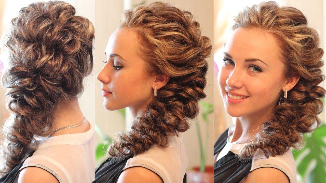 Причёска коса на средние волосы