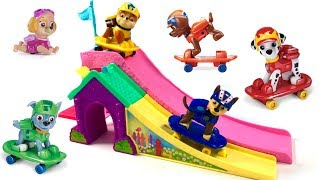 Learn Colors with Paw Patrol Skateboards Pups Skating Skateboarding Ramp | Fizzy Fun Toys