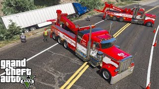 GTA 5 Real Life Mod #160 Two Heavy Duty Tow Truck Wreckers Flips A Overturned Semi Truck & Trailer