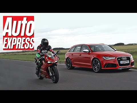 Audi RS6 vs Ducati 1199 Panigale R - car vs bike track battle