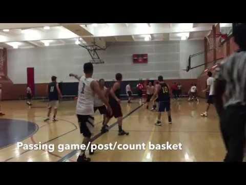Passing game, post, count basket. パスを回してポストでバスカン。
