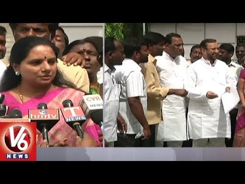 TRS MP Kavitha Meets Prakash Javadekar On Midday Meals Workers Salary Hike | V6 News