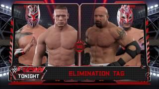 WWE 2K17 Goldberg,Kalisto VS John Cena,Sin Cara In A Elimination Tag Match