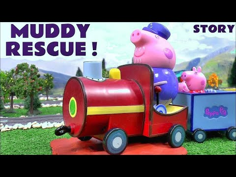 Peppa Pig Play Doh Toy Train Accident & Rescue Thomas and Friends Muddy Puddles English Episodes Fun