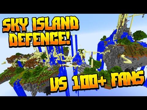 INSANE SKY ISLAND DEFENSE VS 100+ FANS!