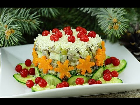 Салат из сердца и грибов с
