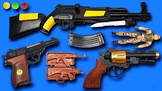 Realistic AK47 Toy Guns – Many BB Toy Guns Toys Equipment From My Massive Gun with Box of Toys