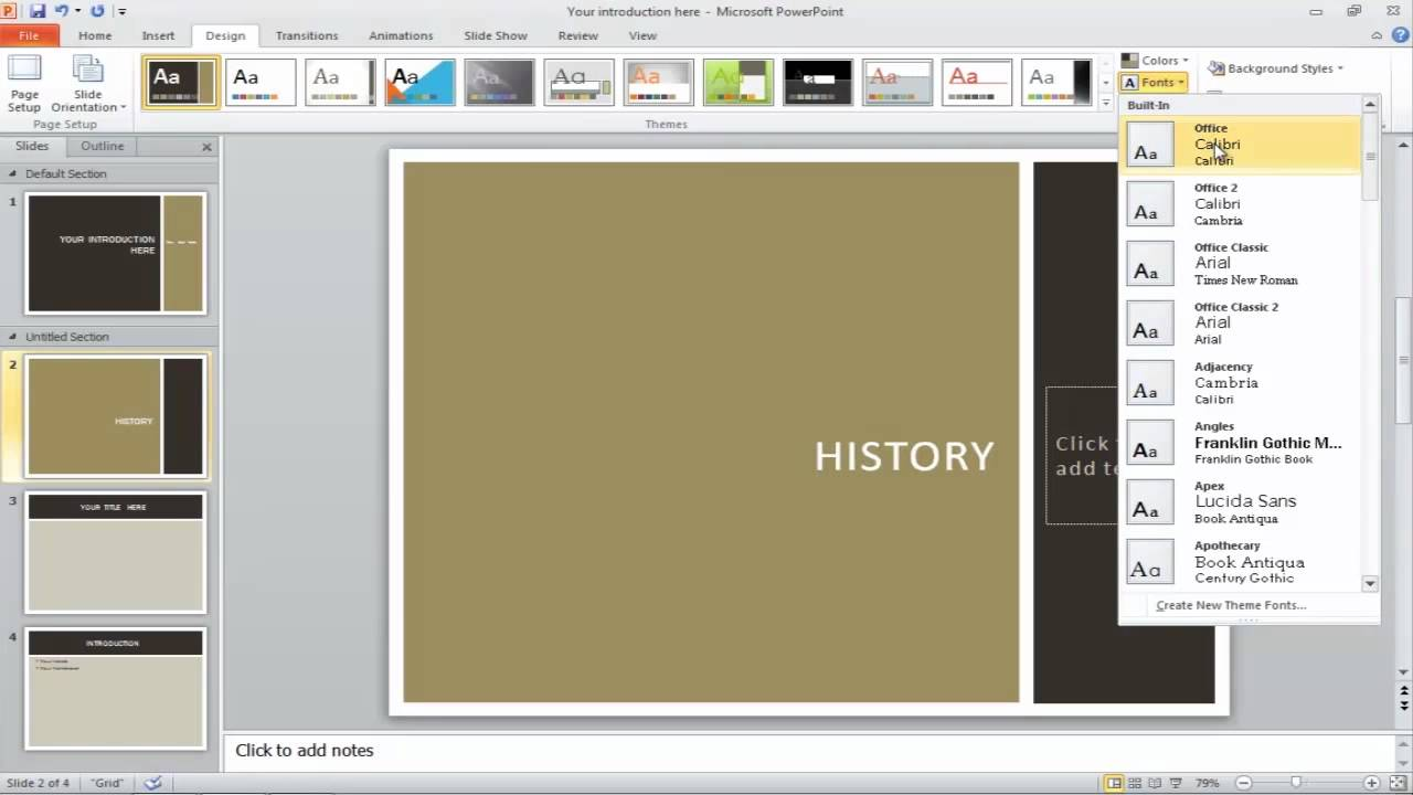 How To Apply A Theme To Powerpoint Presentation Youtube
