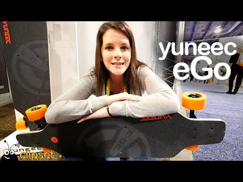 Yuneec eGo electric skateboard CES preview en español