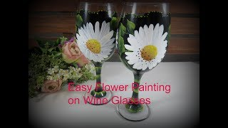 Easy Flower Painting on Wine Glasses | Flower Painting Tutorial | Aressa | 2019