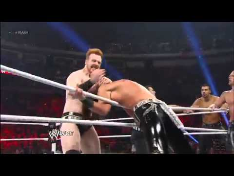 John Cena, Ryback & Sheamus vs Three Man Band (3MB) - WWE Raw 2/11/13