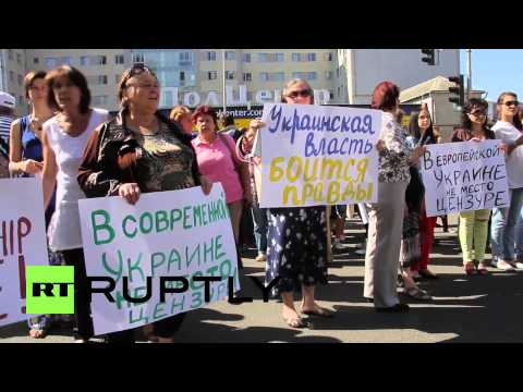 Ukraine: Hundreds protest Ukrainian government press censorship
