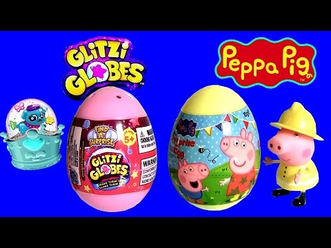 Glitzi Globes Peppa Pig TOY SURPRISE EGGS Nickelodeon Unboxing Review by DisneyCollector DCtoys