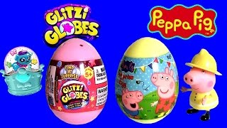 Peppa Pig & Glitzi Globes Surprise Eggs Nickelodeon Unboxing by DisneyCollector