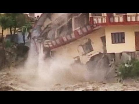 Watch: in torrential rain, house collapses in Uttarakhand