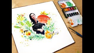 Making watercolor layout with Tropical set Watercolor confections by Prima