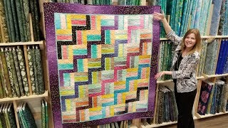 FREE Pattern! Donna's Modern Rail Fence From a Jelly Roll Quilt :)