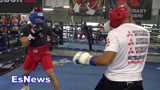 UFC Star vs Pro Boxer Jose Aldo Sparring Delgado At RGBA Looking Impressive EsNews Boxing