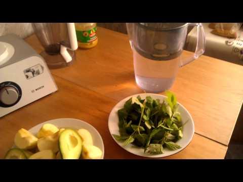 Зеленый Коктейль рецепт Авокадо Сныть Крапива Яблоко Мед Вода