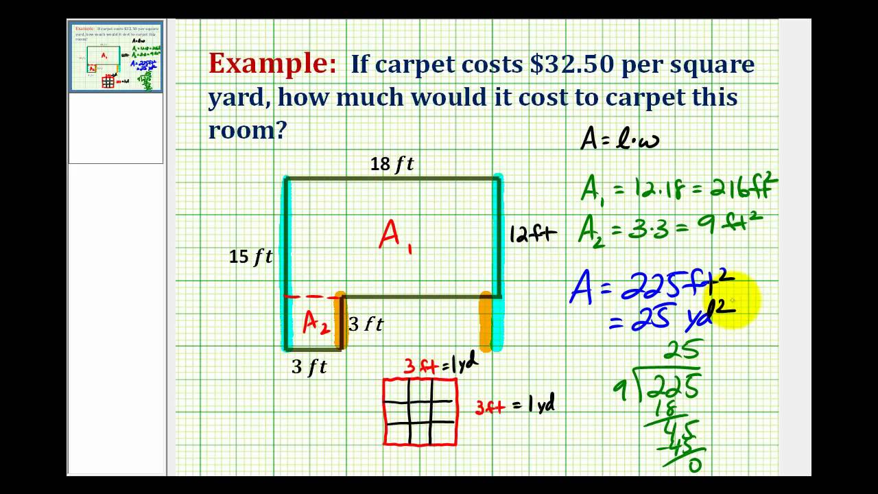 Example determine square yards from square feet How to calculate room size in square feet