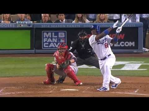 Yasiel Puig Bat Flip for a Triple