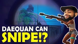 DAEQUAN SNIPING IS INSANE | CAN HE SNIPE?| BOP BOP  | HIGH KILL FUNNY GAME- (Fortnite Battle Royale)