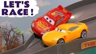 Disney Cars Toys McQueen Cars 3 Knockout Racing with Hot Wheels Car and Thomas Train TT4U