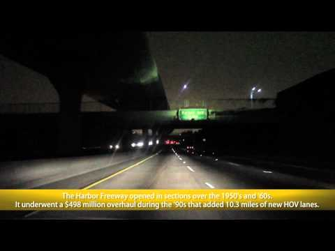 This video begins on the HOV ramp from I-105 west (Century Freeway) to I-110 north (Harbor Freeway) and concludes along I-5 (Golden State Freeway) just befor...
