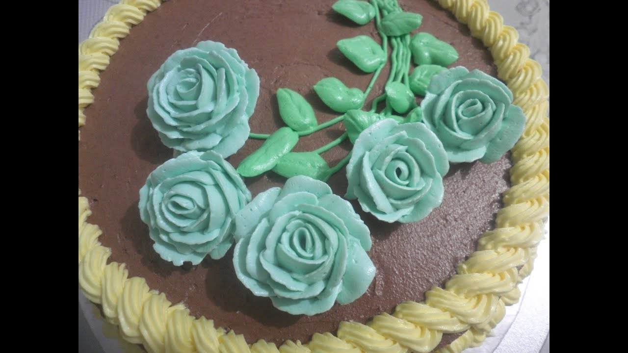 decorating buttercream roses cake (the whole process ...