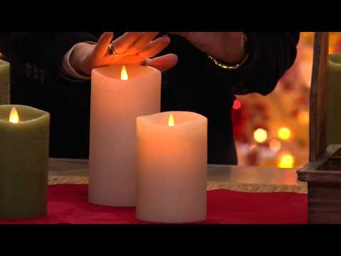 "S/2 Luminara 5"" and 7"" 360' Flameless Pillar Candles w/Timer with Pat James-Dementri"