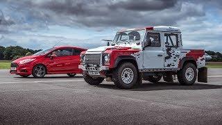 Bowler Defender V6 vs Ford Fiesta ST - Top Gear: Drag Races