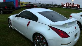 "White & Red Nissan 350Z on 22"" DUB Esinem SL Spinners - 1080p HD"