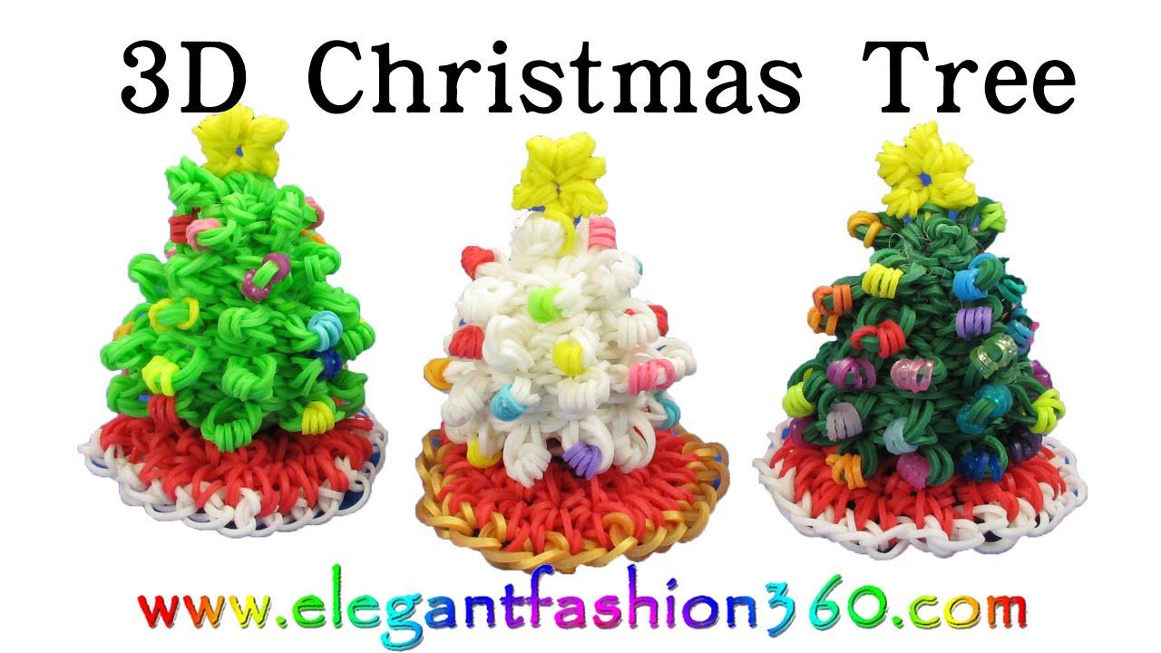 Rainbow loom christmas tree 3d and skirt charm holiday ornaments how