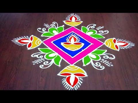 Latest Diwali Rangoli || Deepavali Special  Muggulu ||  Deepam Kolam  || Rangoli & Fashion World